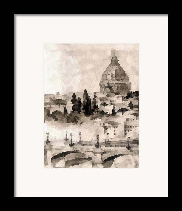 Nature Framed Print featuring the painting By Italy by Odon Czintos