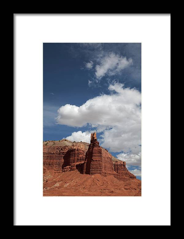 Capitol Reef National; Park; Cathedral Valley; Utah; Travel; Grand Circle; Southern Utah; Beauty; Skys; Clouds; Nature; Vista; National Park; Monolith; Sandstone; Desert; Landscape; Scenic; Photography; Vast Framed Print featuring the photograph Captiol Reef National Park by Southern Utah Photography