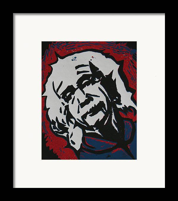 Lino Framed Print featuring the drawing Einstein 2 by William Cauthern