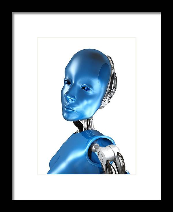 Machine Framed Print featuring the photograph Humanoid Robot, Artwork by Victor Habbick Visions