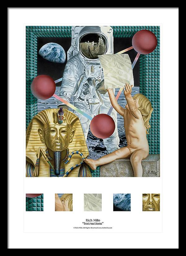 Astronauts Framed Print featuring the painting Instructions by Rich Milo