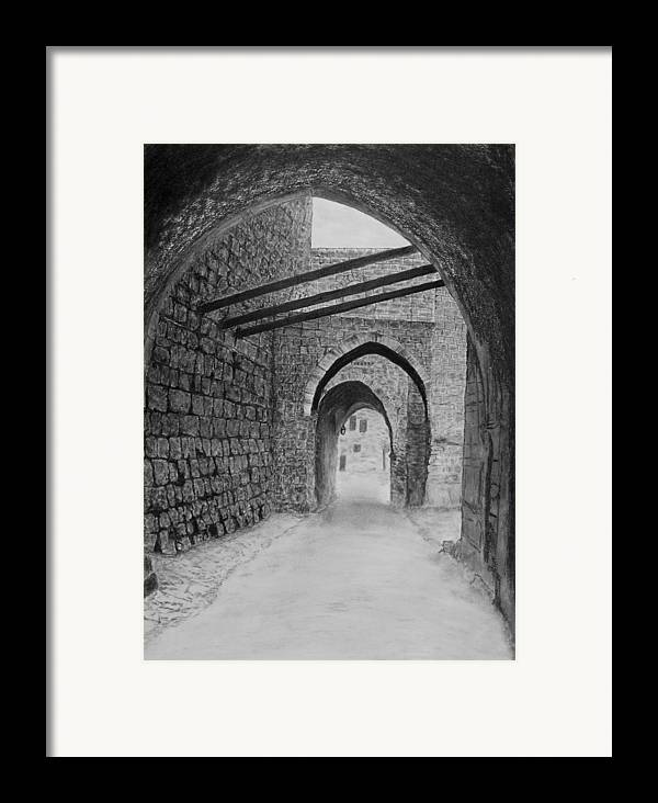 Jerusalem Framed Print featuring the drawing Jerusalem Old Street by Marwan Hasna - Art Beat