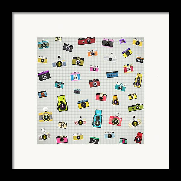 Analog Framed Print featuring the photograph Retro Camera Pattern by Setsiri Silapasuwanchai