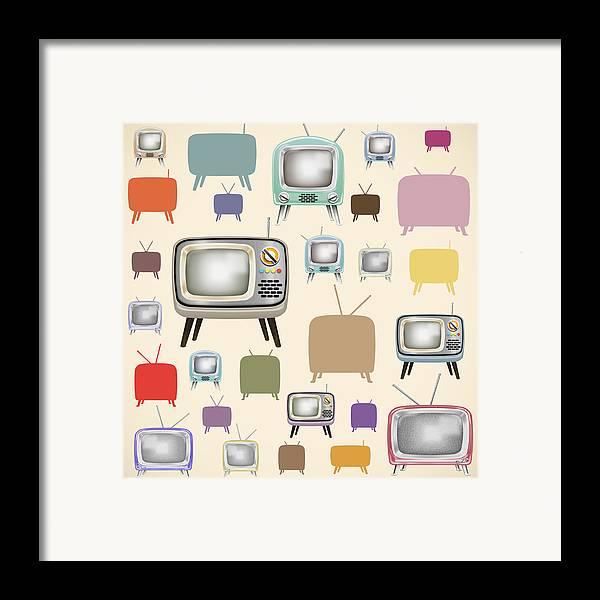 Analog Framed Print featuring the painting retro TV pattern by Setsiri Silapasuwanchai