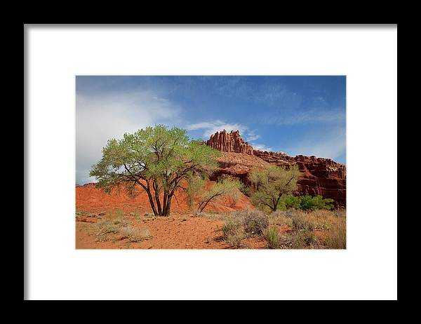 Capitol Reef Nationa Park; Cathedral Valley; Utah; Travel; Grand Circle; Southern Utah; Beauty; Skys; Clouds; Nature; Vista; National Park; Monolith; Sandstone; Desert; Landscape; Scenic; Photography; Vast Framed Print featuring the photograph Capitol Reef National Park by Southern Utah Photography