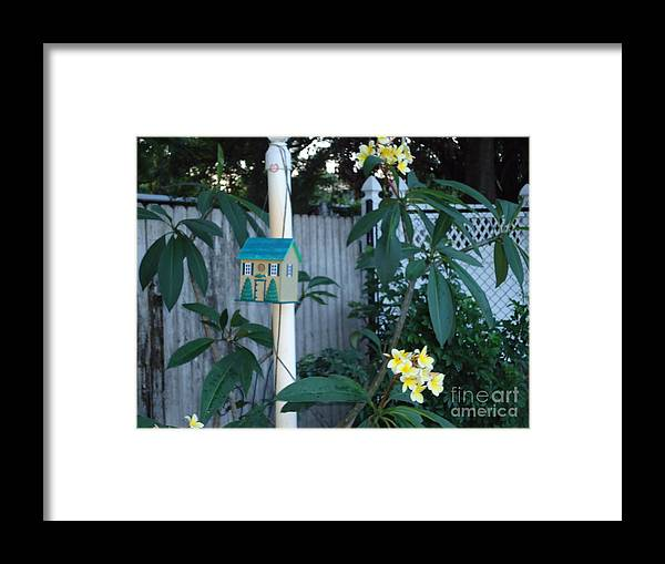 Yellow Framed Print featuring the photograph 415 Premeria On Fence by Debbie Wassmann