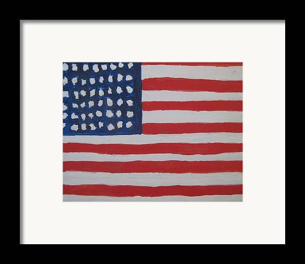 Flag Framed Print featuring the painting Untitled by Iris Gill