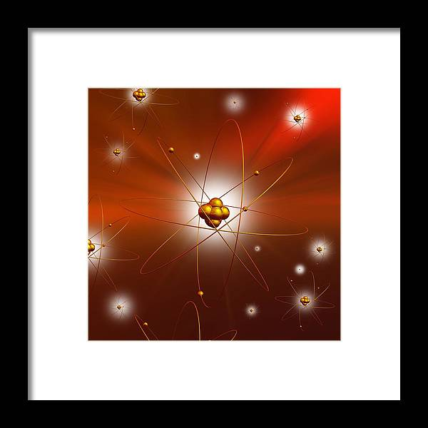 Particle Framed Print featuring the photograph Atomic Structure, Artwork by Mehau Kulyk