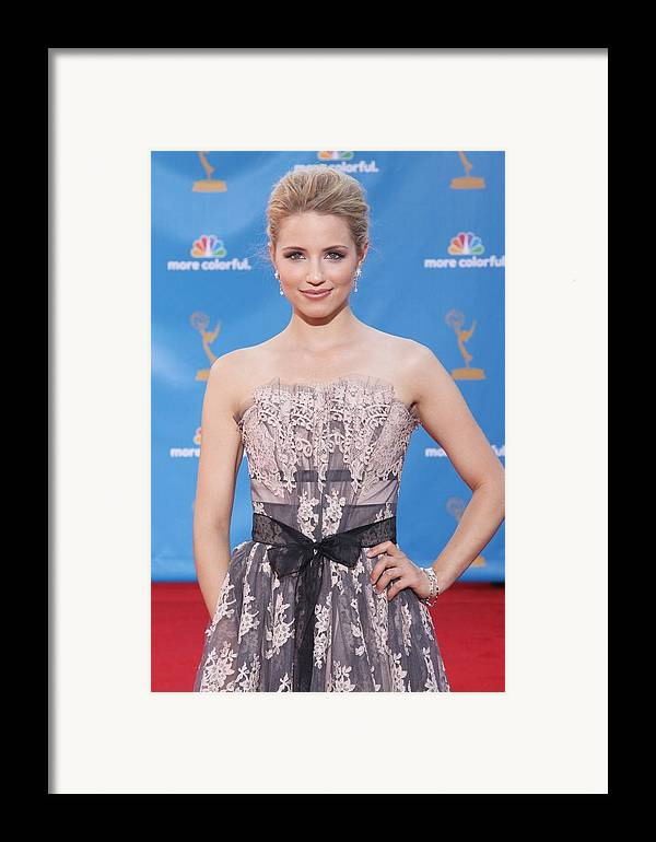 Dianna Agron Framed Print featuring the photograph Dianna Agron Wearing A Carolina Herrera by Everett
