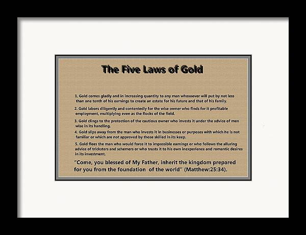 5 Laws Of Gold Framed Print featuring the digital art 5 Laws Of Gold by Ricky Jarnagin
