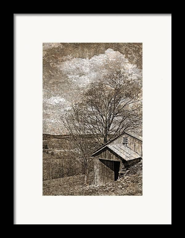 Tin Framed Print featuring the photograph Rustic Hillside Barn by John Stephens