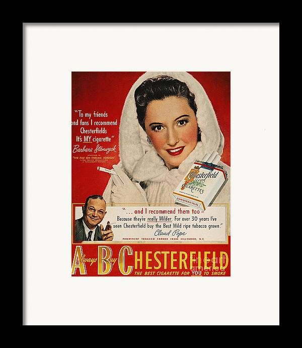 1949 Framed Print featuring the photograph Chesterfield Cigarette Ad by Granger
