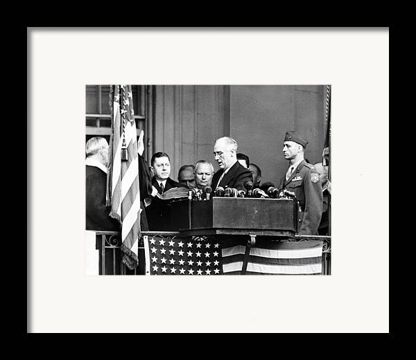 1940s Candid Framed Print featuring the photograph President Franklin D. Roosevelt by Everett