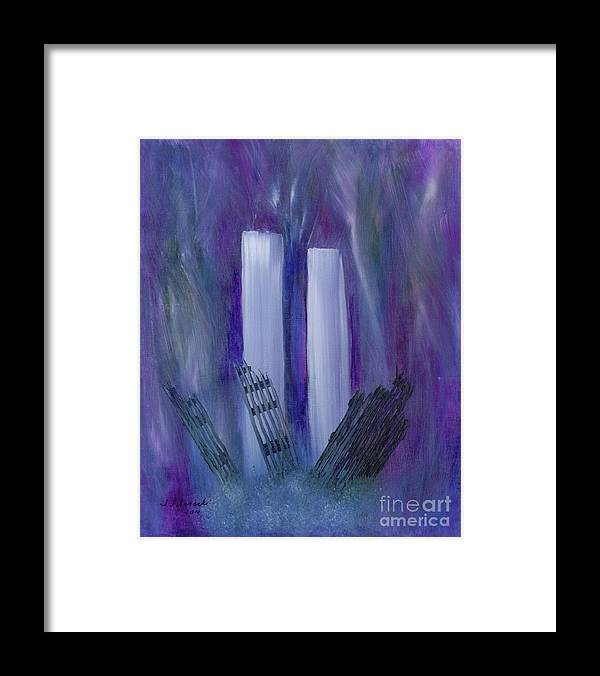 911 Framed Print featuring the painting 9-11 Remembering by Judy Filarecki