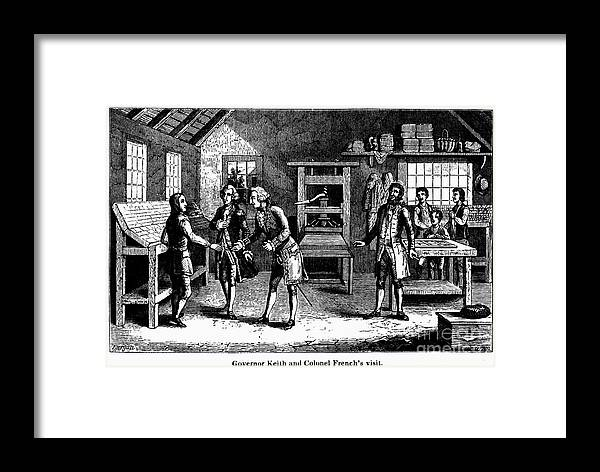 1724 Framed Print featuring the photograph Benjamin Franklin by Granger