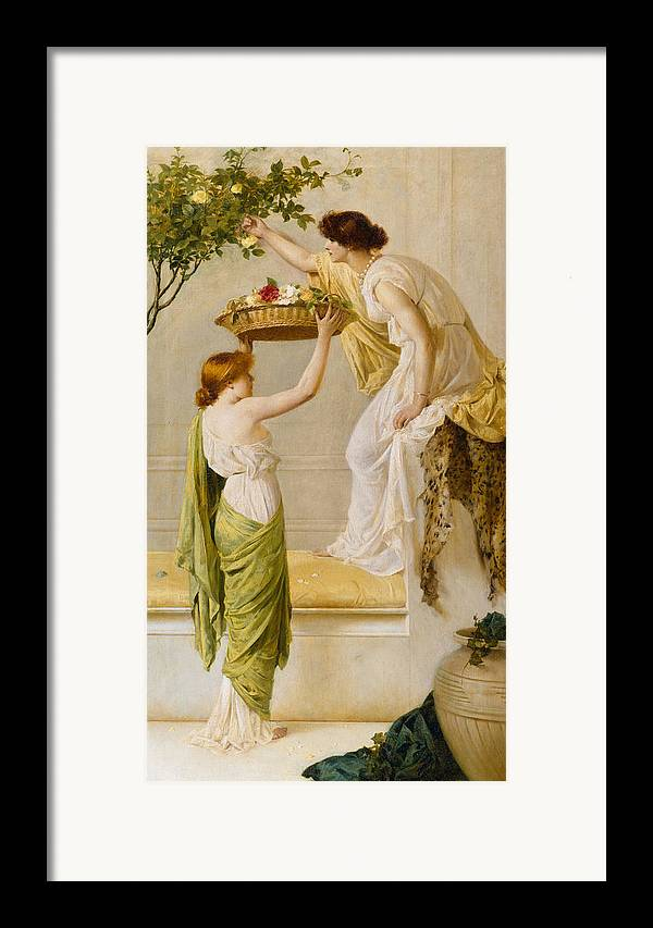 Basket Framed Print featuring the painting A Basket Of Roses - Grecian Girls by Henry Thomas Schaefer