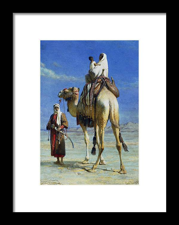 Orientalist; Bedouin; Wadi; Camel; Arab Framed Print featuring the painting A Bedoueen Family In Wady Mousa Syrian Desert by Carl Haag