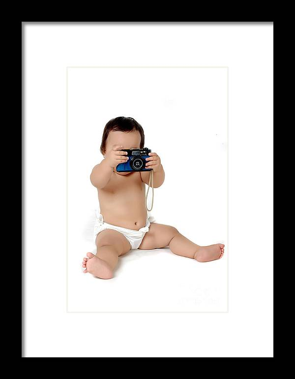 Baby Framed Print featuring the photograph A Chubby Little Girl Photograph With Vintage Camera by Antoni Halim
