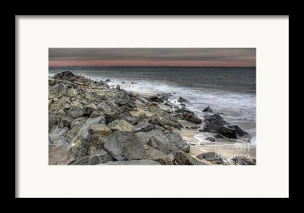A Cold Day On A December Beach Framed Print featuring the photograph A Cold Day On A December Beach by Lee Dos Santos