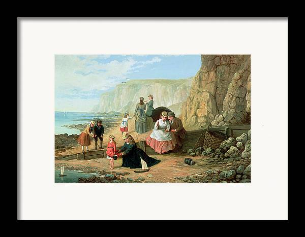 Cliff; Seashore; Cliffs; Summer; Holiday; Family; Lovers; Couple; Children; Spade; Toy; Boat; Sea; Sailor; Suit; Strolling; Pastime; Bucket; Playing; Digging; Telescope; Book; Parasol; Umbrella; Sunshade; Basket; Rocks; Sand Framed Print featuring the painting A Day At The Seaside by William Scott