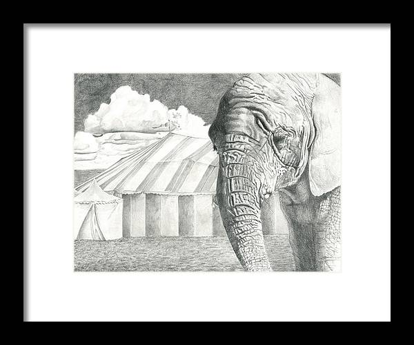 Illustration Framed Print featuring the drawing A Day In The Circus by Rachel Ward