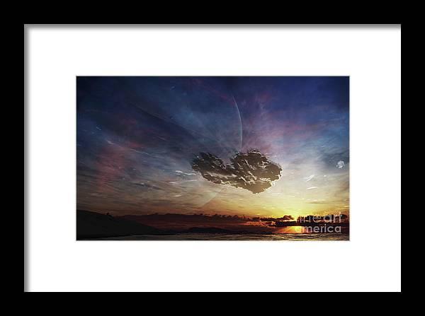 Artwork Framed Print featuring the digital art A Despairing Man Sits On The Beach by Brian Christensen