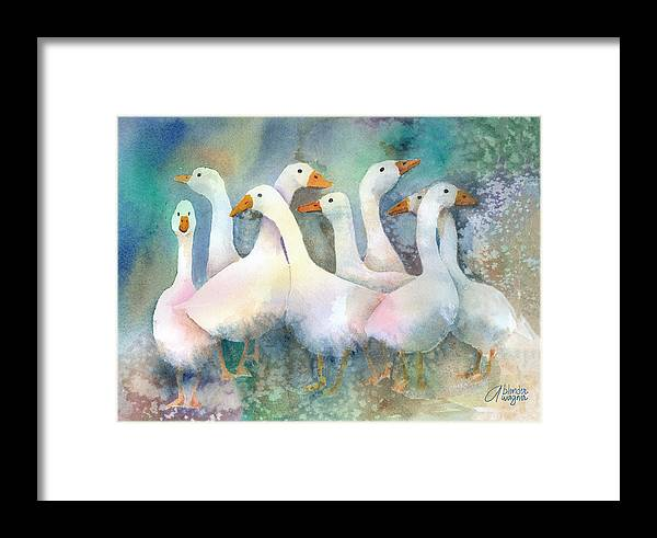 Goose Framed Print featuring the painting A Disorderly Group Of Geese by Arline Wagner