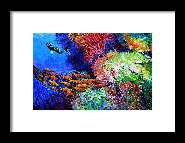 Scuba Diver Framed Print featuring the painting A Flash of Life and Color by John Lautermilch