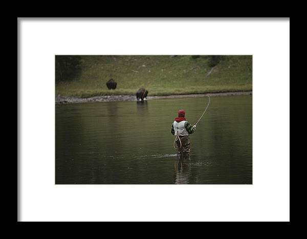 Scenes And Views Framed Print featuring the photograph A Fly-fisherman Casts His Line by Raymond Gehman
