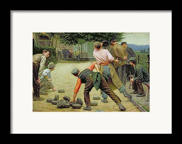 A Game Of Bourles In Flanders Framed Print featuring the painting A Game Of Bourles In Flanders by Remy Cogghe