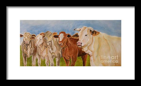 Cows Framed Print featuring the painting A Gathering Of Cows by Genie Morgan