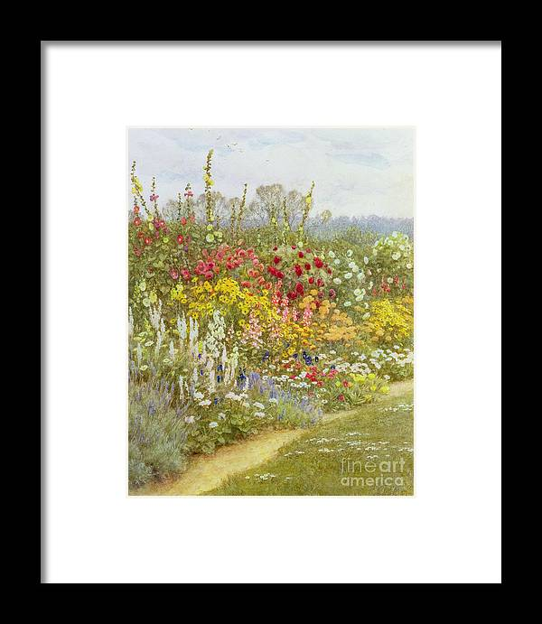 A Herbaceous Border Framed Print featuring the painting A Herbaceous Border by Helen Allingham