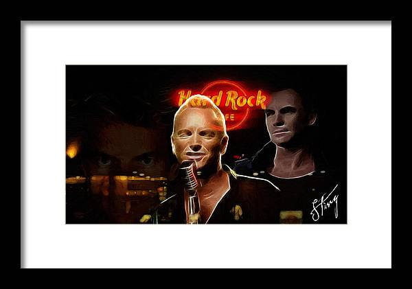 Sting Music Man Male Famous Star Police Gordon Rocks Rock Pop Neon Light Guitar Hero Playing Rocking Lights Bus Underground City Cityscape Framed Print featuring the painting A Life For The Music by Steve K