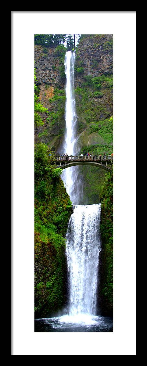 Multnomah Falls Framed Print featuring the photograph A Long Drop by Lynn Bawden