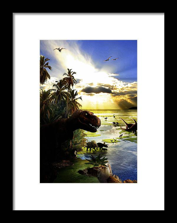 Dinosaur Framed Print featuring the digital art A Lost World by Russell Clenney