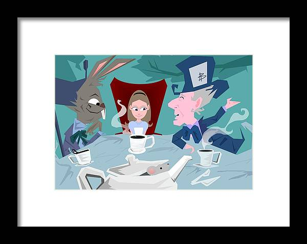 Alice In Wonderalnd~a Mad Tea Party Mad Hatter March Hare White Rabbit Lewis Caroll Fantasy Childrens Books Fairy Tales Doormouse Tea Raven Mad Tea Cups Tea Pot Unbirthday Chesire Cat Framed Print featuring the digital art 'a Mad Tea Party' by Bryan Rhoads