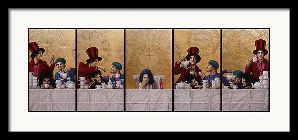 Jose Luis Munoz Framed Print featuring the painting A Mad Tea-party From Alice In Wonderland by Jose Luis Munoz Luque
