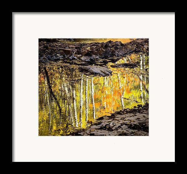 Reflection Autumn autumn Reflection fall Colors Duluth Nature Magical Serene amity Creek Minnesota fleeting Moment Framed Print featuring the photograph A Moment Of Reflection by Mary Amerman