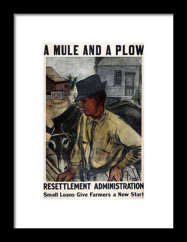 1930s Framed Print featuring the photograph A Mule And A Plow. Resettlement by Everett