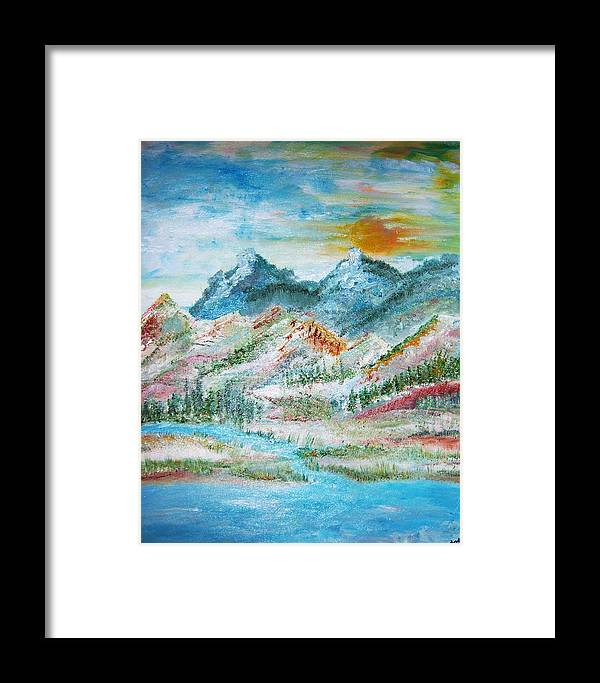 Landscape Framed Print featuring the painting A River Runs Through by Fawn Whelahan