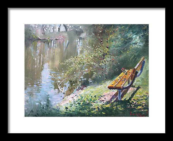 Lake Shore Framed Print featuring the painting A Rose On The Bench by Ylli Haruni