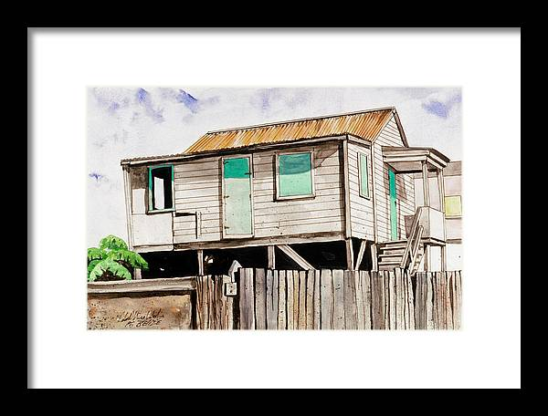 Caribbean Landscape Framed Print featuring the painting A San Pedro House by John Westerhold
