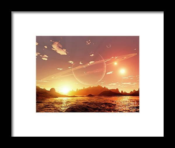 Artwork Framed Print featuring the digital art A Scene On A Distant Moon Orbiting by Brian Christensen