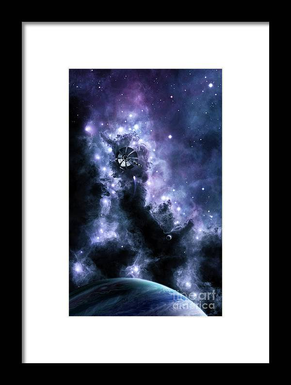 Space Art Framed Print featuring the digital art A Solar Sail Appears From The Dusty by Brian Christensen