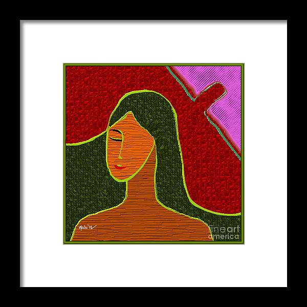 Paintings Framed Print featuring the painting A Stylised Portrait by Nedunseralathan R