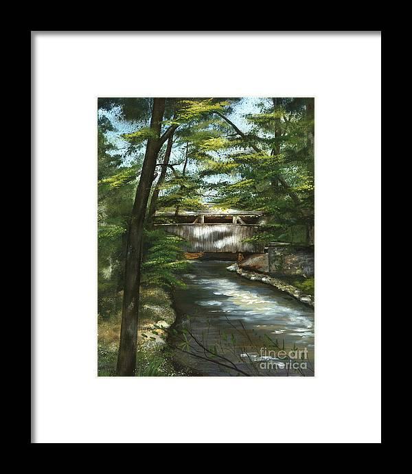 Covered Bridge Framed Print featuring the painting A Summer Walk Along The Creek by Nancy Patterson