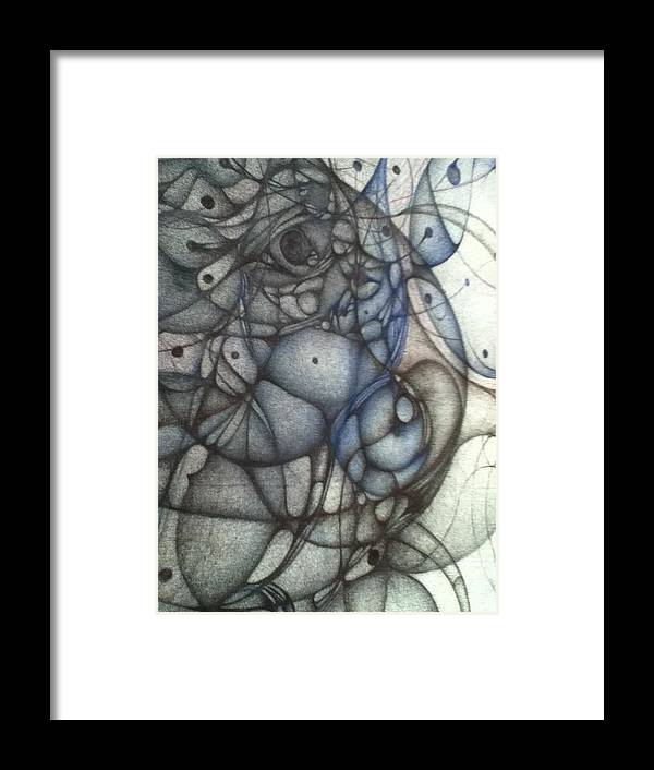 Ballpoint On Raw Canvass Art Framed Print featuring the drawing A Third Detail by Jack Dillhunt