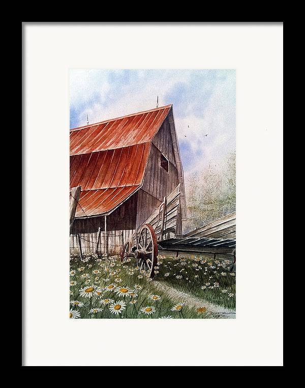 Barn Framed Print featuring the painting A Time For Daiseys by Don F Bradford