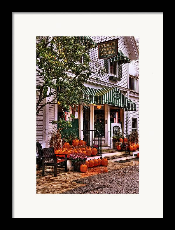 Vermont Framed Print featuring the photograph A Vermont Classic - Dorset Union Country Store by Thomas Schoeller