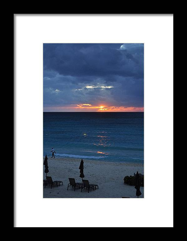 Carribbean Framed Print featuring the photograph A Walk At Sunset by Caroline Stella